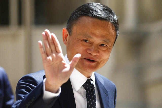 FILE - In this May 15, 2019, file photo, founder of Alibaba group Jack Ma arrives for the Tech for Good summit in Paris. Ma hasn't been seen in public since he angered regulators with an October 2020 speech. That is prompting speculation about what might happen to the billionaire founder of the world's biggest e-commerce company. (AP Photo/Thibault Camus, File)