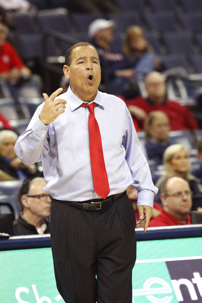 Houston head coach Kelvin Sampson calls out a play in the second half of an NCAA college basketball game against UConn at the American Athletic Conference tournament Friday, March 15, 2019, in Memphis, Tenn. (AP Photo/Troy Glasgow)