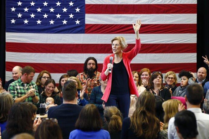 Sen. Elizabeth Warren, D-Mass., speaks during an organizing event at Manchester Community College in Manchester, N.H., Saturday, Jan.12, 2019. (AP Photo/Michael Dwyer)