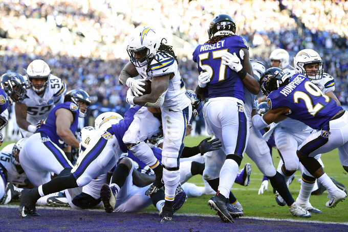 Los Angeles Chargers running back Melvin Gordon (28) scores a touchdown in the second half of an NFL wild card playoff football game against the Baltimore Ravens, Sunday, Jan. 6, 2019, in Baltimore. (AP Photo/Nick Wass)