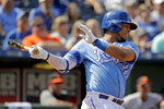 Kansas City Royals' Meibrys Viloria hits an RBI single during the seventh inning of a baseball game against the Baltimore Orioles Sunday, Sept. 1, 2019, in Kansas City, Mo. (AP Photo/Charlie Riedel)