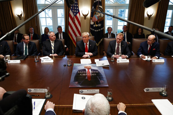 Donald Trump, Patrick Shanahan, Alex Azar, Wilbur Ross, David Bernhardt