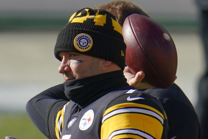 Pittsburgh Steelers quarterback Ben Roethlisberger warms up before an NFL football game against the Indianapolis Colts, Sunday, Dec. 27, 2020, in Pittsburgh. (AP Photo/Gene J. Puskar)