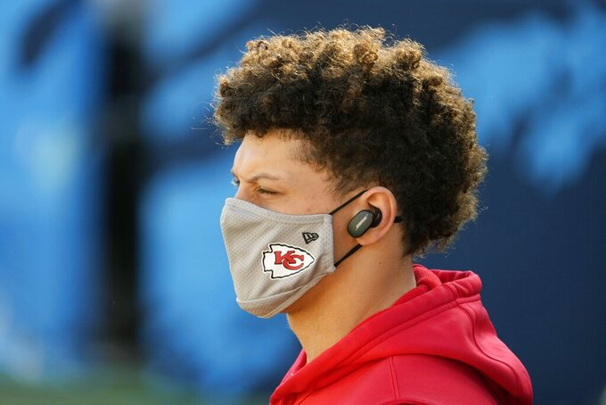 Kansas City Chiefs quarterback Patrick Mahomes arrives before the NFL Super Bowl 55 football game between the Kansas City Chiefs and Tampa Bay Buccaneers, Sunday, Feb. 7, 2021, in Tampa, Fla. (AP Photo/David J. Phillip)