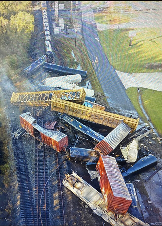 This photo provided by the Orange County Sheriff's Office shows a train derailment Thursday, Oct. 29, 2020, in Mauriceville, Texas. According to local officials there were no injuries though people were being told to evacuate the area. (Orange County Sheriff's Office via AP)