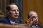 Senate Finance Committee ranking member Sen. Ron Wyden, D-Ore., left, sitting next to Committee Chairman Sen. Chuck Grassley, R-Iowa, right, speaks during a hearing on Capitol Hill in Washington, Tuesday, April 9, 2019, with pharmacy benefit managers that explored the high cost of prescription drugs. (AP Photo/Susan Walsh)