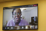 Courtney Thomas speaks via video about a bill she sponsored that would expand voting in the state on Thursday, April 15, 2021, in Columbia, S.C. Republicans held a hearing on the bill, but only allowed less than an hour of testimony. (AP Photo/Jeffrey Collins).