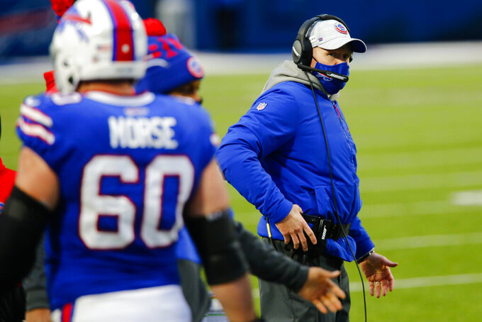 Buffalo Bills head coach Sean McDermott works the sideline in the second half of an NFL football game against the Miami Dolphins, Sunday, Jan. 3, 2021, in Orchard Park, N.Y. (AP Photo/John Munson)