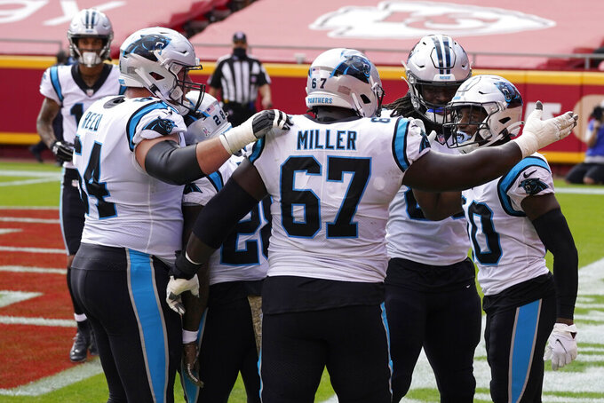 Carolina Panthers wide receiver Curtis Samuel, right, is congratulated by teammates after scoring against the Kansas City Chiefs during the first half of an NFL football game in Kansas City, Mo., Sunday, Nov. 8, 2020. (AP Photo/Orlin Wagner)