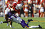 Iowa State wide receiver Xavier Hutchinson (8) is tackled by Northern Iowa linebacker Alfonzo Lambert (40) during the first half of an NCAA college football game, Saturday, Sept. 4, 2021, in Ames, Iowa. (AP Photo/Matthew Putney)