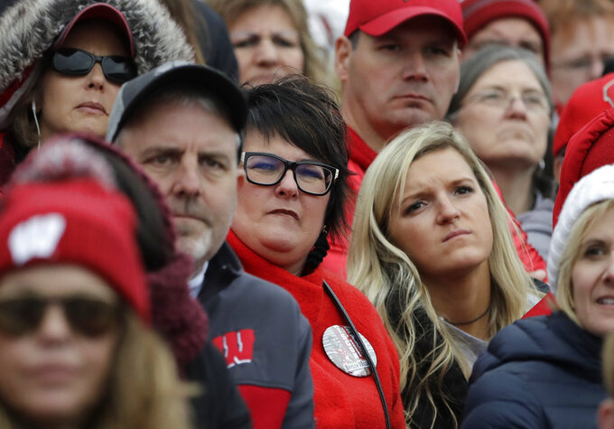 Wisconsin fans react as they watch during the second half of an NCAA college football game against Northwestern in Evanston, Ill., Saturday, Oct. 27, 2018. Northwestern won 31-17. (AP Photo/Nam Y. Huh)