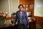 This 2021 photo shows Prairie View A&M University President Ruth Simmons in her office on the Prairie View, Texas, campus.   Simmons, the president of the historically Black university in Texas, felt in December when she received a call informing her that the school would be gifted $50 million — not just the largest contribution it has ever received, but nearly 24 times larger than the previous recordholder, the famous $2.1 million gift from thrifty schoolteacher Whitlowe Green in 2005. (Michael T. Thomas/Prairie View A&M University Marketing and Communications via AP)