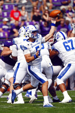 Indiana State quarterback Anthony Thompson (5) passes against Northwestern during the first half of an NCAA college football game in Evanston, Ill, Saturday, Sept. 11, 2021. (AP Photo/Matt Marton)