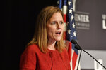 U.S. Supreme Court Associate Justice Amy Coney Barrett speaks to an audience at the 30th anniversary of the University of Louisville McConnell Center in Louisville, Ky., Sunday, Sept. 12, 2021. (AP Photo/Timothy D. Easley)