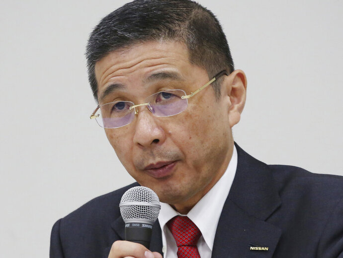 FILE - In this Dec 17, 2018, file photo, Nissan Motor Co. Chief Executive Hiroto Saikawa speaks during a press conference in Yokohama. An investor research company is advising Nissan shareholders to vote against the proposal to reappoint Chief Executive Hiroto Saikawa as board director, saying the Japanese automaker needs a