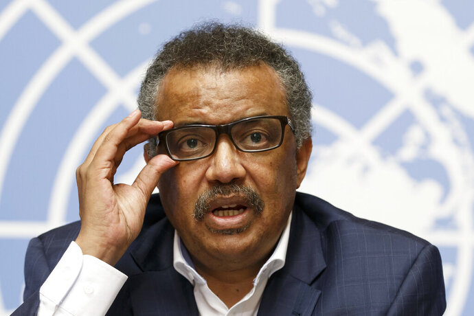 FILE - In this Tuesday Aug. 14, 2018 file photo, Tedros Adhanom Ghebreyesus, Director General of the World Health Organization (WHO), speaks during a press conference at the European headquarters of the United Nations in Geneva, Switzerland, on WHO Ebola operations in the Democratic Republic of the Congo (DRC). Tedros Adhanom Ghebreyesus has ordered an internal investigation into allegations the U.N. health agency is rife with racism, sexism and corruption, after a series of anonymous emails with the explosive charges were sent to top managers last year. (Salvatore Di Nolfi/keystone via AP, File)