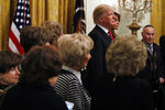 President Donald Trump and first lady Melania Trump are joined by Holocaust survivors, as they attend a Hanukkah reception, Thursday, Dec. 6, 2018, in the East Room of the White House in Washington. The president introduced the attending survivors of the Holocaust, the Nazi genocide of 6 million Jews during WWII, and invited the survivors to join him on stage to see the lighting of the Hanukkah candles. (AP Photo/Jacquelyn Martin)