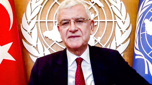In this photo provided by the United Nations, Volkan Bozkir, President of the 75th session of the United Nations General Assembly, addresses the annual meeting of the United Nations Alliance of Civilizations (UNAOC) Group of Friends during the 75th session of the United Nations General Assembly, Tuesday, Sept. 29, 2020, at UN headquarters in New York. (Manuel Elias/UN Photo via AP)
