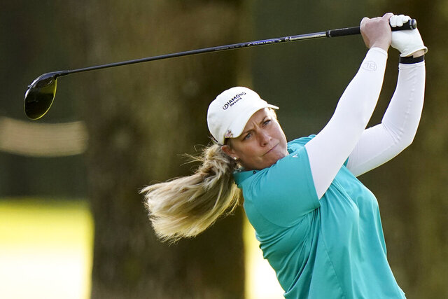 Brittany Lincicome watches her tee shot on the sixth hole during the first round of the KPMG Women's PGA Championship golf tournament at the Aronimink Golf Club, Thursday, Oct. 8, 2020, in Newtown Square, Pa. (AP Photo/Matt Slocum)