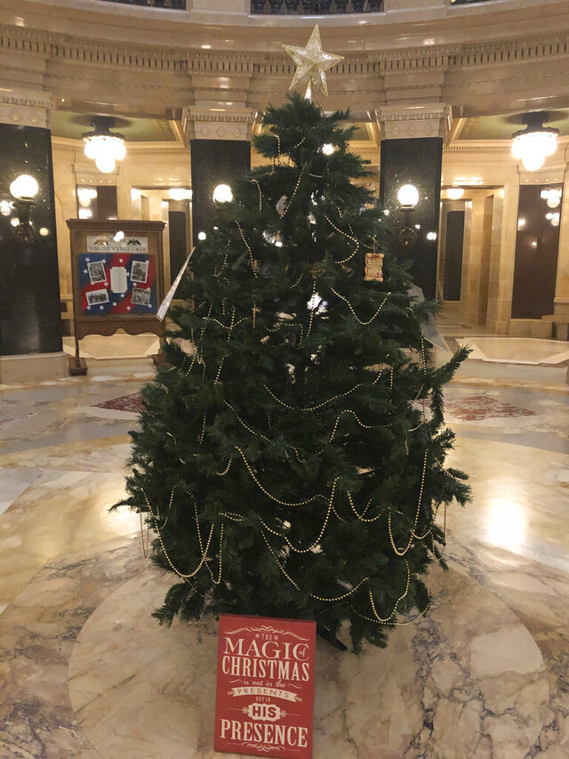 An artificial Christmas tree that Republican lawmakers set up stands in the Wisconsin Capitol rotunda Monday, Dec. 7, 2020, in Madison, Wis. GOP Reps. Paul Tittl and Shae Sortwell erected the tree without a permit after Gov. Tony Evers' administration decided to forego the state's annual tradition of placing a towering evergreen in the rotunda since the building is closed due to the coronavirus pandemic. (AP Photo/Todd Richmond)