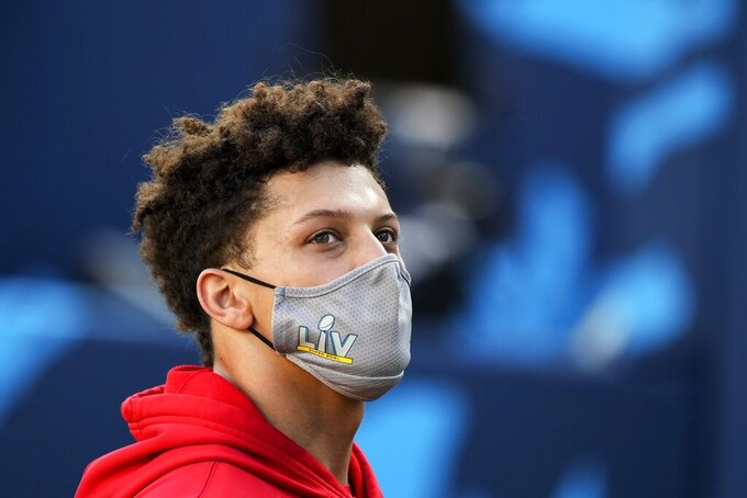 Kansas City Chiefs quarterback Patrick Mahomes leaves the field after warm ups before the NFL Super Bowl 55 football game between the Kansas City Chiefs and Tampa Bay Buccaneers, Sunday, Feb. 7, 2021, in Tampa, Fla. (AP Photo/David J. Phillip)