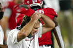 FILE - In this Saturday, Nov. 7, 2020, file photo, Georgia head coach Kirby Smart pauses during timeout against Florida during the second half of an NCAA college football game in Jacksonville, Fla. Georgia  plays at Sanford Stadium for the first time in six weeks when it hosts Mississippi State Saturday night. Since its last home game, a 44-21 victory over Tennessee on Oct. 10, Georgia has taken double-digit losses to SEC powerhouses Alabama and Florida. (AP Photo/John Raoux, File)