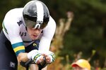 FILE - In this Sept. 25, 2019, file photo, Australia's Rohan Dennis competes on his way to win the men's elite individual time trial event, at the road cycling World Championships in Harrogate, England. At the Tour de France in July, Dennis vanished during the first stage in the Pyrenees. His worried team was forced to send a message on social media wondering about his whereabouts. The Australian rider eventually turned up at the finish line. (AP Photo/Manu Fernandez, File)