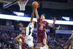 Florida State's Dominik Olejniczak (15) blocks Wake Forest's Brandon Childress (0) shot in the first half of an NCAA college basketball game Wednesday, Jan. 8, 2020 in Winston-Salem, N.C. (AP Photo/Lynn Hey)