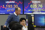 Currency traders watch monitors at the foreign exchange dealing room of the KEB Hana Bank headquarters in Seoul, South Korea, Wednesday, Dec. 4, 2019. Asian stock markets followed Wall Street lower after President Donald Trump cast doubt over the potential for a trade deal with China this year. (AP Photo/Ahn Young-joon)