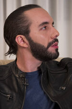 Presidential frontrunner Nayib Bukele, of the Grand National Alliance for Unity or GANA, during an interview, in San Salvador, El Salvador, Tuesday, Jan. 29, 2019. The young entrepreneur has his sights set on combating corruption and promises to create an anti-corruption commission similar to its Central American neighbors. Salvadorans go to the polls this Sunday. (AP Photo/Moises Castillo)
