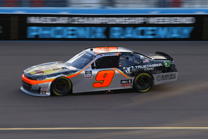 Noah Gragson races through Turn 4 during the NASCAR Xfinity Series auto race at Phoenix Raceway, Saturday, Nov. 7, 2020, in Avondale, Ariz. (AP Photo/Ralph Freso)