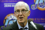 FILE - In this March 22, 2017, file photo, former Utah Jazz head coach Jerry Sloan speaks at a news conference in Salt Lake City. The Utah Jazz have announced that Jerry Sloan, the coach who took them to the NBA Finals in 1997 and 1998 on his way to a spot in the Basketball Hall of Fame, has died. Sloan died Friday morning, May 22, 2020, the Jazz said, from complications related to Parkinson's disease and Lewy body dementia. He was 78. (AP Photo/Rick Bowmer, File)