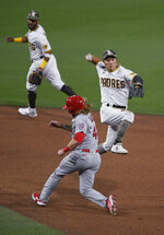 San Diego Padres shortstop Ha-Seong Kim (7) throws next to St. Louis Cardinals' Harrison Bader (48) as he turns a double play on Tommy Edman during the sixth inning of a baseball game Friday, May 14, 2021, in San Diego. (AP Photo/Denis Poroy)