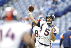 Denver Broncos quarterback Joe Flacco (5) throws before an NFL football game against the Indianapolis Colts, Sunday, Oct. 27, 2019, in Indianapolis. (AP Photo/Michael Conroy)