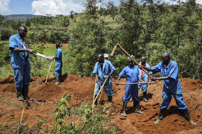 Workers with Burundi's truth and reconciliation commission dig for human remains at the site of a mass grave at Bukirasazi hill, Karusi province, Burundi Monday, Feb. 17, 2020. Authorities in Burundi say they have opened six mass graves containing more than 6,000 bodies from unrest that occurred decades ago, the largest such discovery in years of work. (AP Photo/Berthier Mugiraneza)