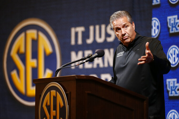 Kentucky head coach John Calipari speaks during the Southeastern Conference NCAA college basketball media day, Wednesday, Oct. 16, 2019, in Birmingham, Ala. (AP Photo/Butch Dill)