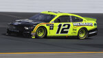 Ryan Blaney heads down the front stretch during a NASCAR Cup Series auto race practice at New Hampshire Motor Speedway in Loudon, N.H., Saturday, July 20, 2019. (AP Photo/Charles Krupa)