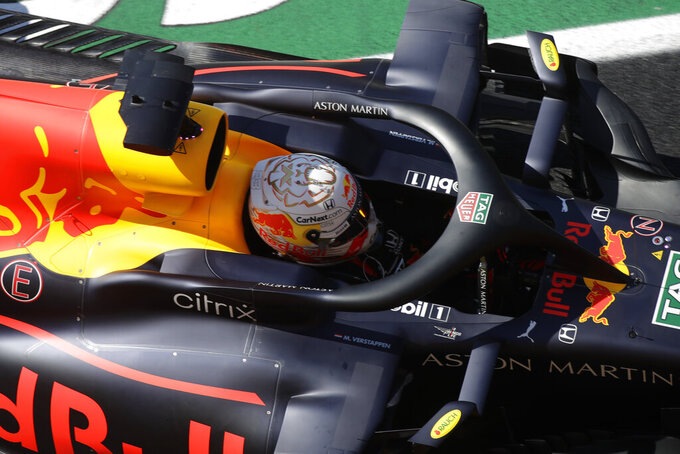 Red Bull driver Max Verstappen of the Netherlands steers his car during the qualification ahead of the Grand Prix of Tuscany, at the Mugello circuit in Scarperia, Italy, Saturday, Sept. 12, 2020. The Formula One Grand Prix of Tuscany will take place on Sunday. (AP Photo/Luca Bruno, Pool)