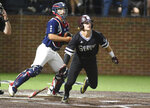 Mississippi State's Rowdy Jordan gets a single in the eleventh inning against Vanderbilt inf an NCAA college baseball tournament super regional game Monday, June 11, 2018, in Nashville, Tenn. (AP Photo/Mike Strasinger)