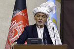 FILE - In this March 6, 2021, file photo, President Ashraf Ghani speaks during the opening ceremony of the new legislative session of the Parliament in Kabul, Afghanistan. In March 2021, U.S. Secretary of State Antony Blinken gave both the Taliban and the Afghan government an eight-page proposed peace plan, which they were to discuss, revise and review and come to Turkey ready to cobble together an agreement. But on Monday, April 12, 2021, Taliban spokesman Mohammad Naeem said the religious militia won't attend a peace conference tentatively planned for later in the week in Turkey, putting U.S. efforts to get a peace plan anytime soon in jeopardy. (AP Photo/Mariam Zuhaib, File)