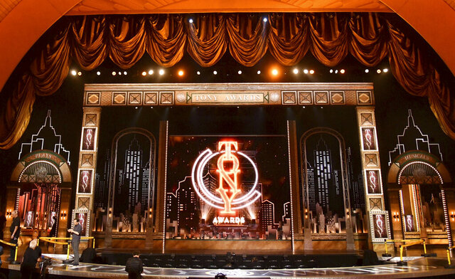 FILE - This June 9, 2019 file photo shows the stage prior to the start of the 73rd annual Tony Awards at Radio City Music Hall in New York. The 74th Annual Tony Awards, scheduled to air live on the CBS Television Network on Sunday, June 7, will be postponed and rescheduled at a later date. (Photo by Charles Sykes/Invision/AP, File)