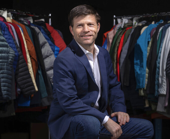 This photo provided by  Trove Reccomerce, Inc. shows Andy Ruben, founder and CEO of Trove photographed in January 2021.  Running a resale business is complicated so some of the big iconic fashion brands like Levi's, Eileen Fisher,  Patagonia and most recently Lululemon, are turning to Trove,  a tech startup that handles the logistics of taking back merchandise and preparing it for resale. That includes shipping the items in the label's own packaging and cleaning the millions of products. (McNair Evans/ Trove Reccomerce, Inc. via AP)