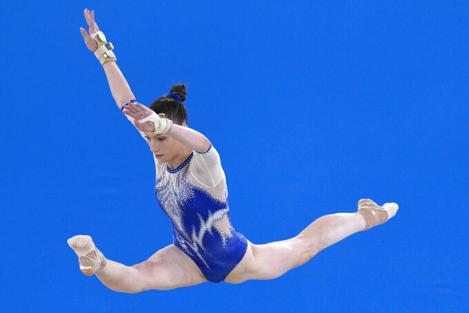 Vladislava Urazova, of the Russian Olympic Committee, performs on the floor during the artistic gymnastics women's final at the 2020 Summer Olympics, Tuesday, July 27, 2021, in Tokyo. (AP Photo/Natacha Pisarenko)