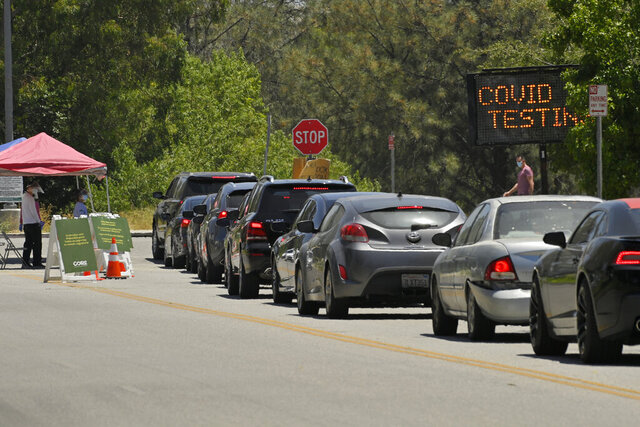 FILE - Cars line up for coronavirus testing at Hansen Dam Recreation Center, Tuesday, July 7, 2020, in Los Angeles. The resurgence of the virus has spiked demand in LA and across the state for tests, leading to long lines and a fear that supplies will run low and create a bottleneck in a system that has taken months to expand. (AP Photo/Mark J. Terrill, File)