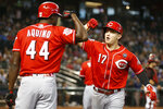 Cincinnati Reds' Josh VanMeter (17) celebrates with Aristides Aquino after hitting a solo home run against the Arizona Diamondbacks in the fourth inning during a baseball game, Sunday, Sept. 15, 2019, in Phoenix. (AP Photo/Rick Scuteri)