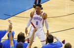 Oklahoma City Thunder guard Russell Westbrook (0) celebrates after scoring against the Portland Trail Blazers in the first half of Game 4 of an NBA basketball first-round playoff series Sunday, April 21, 2019, in Oklahoma City. (AP Photo/Alonzo Adams)