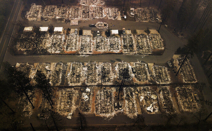 FILE - In this Nov. 15, 2018, aerial file photo, rubble remains after residences were leveled by the Camp wildfire in Paradise, Calif. California's chief utility regulators and a Pacific Gas & Electric executive testified Thursday, June 4, 2020, that the utility is behind on installing devices meant to ease the severity of power shut-offs during potential wildfires and hasn't yet hired and trained emergency response specialists in each county. PG&E's electrical grid that ignited a succession of Northern California wildfires. (AP Photo/Noah Berger, File)