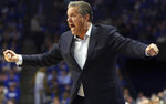 Kentucky head coach John Calipari urges his team on during the second half of an NCAA college basketball game against Eastern Kentucky in Lexington, Ky., Friday, Nov. 8, 2019. Kentucky won 91-49. (AP Photo/James Crisp)