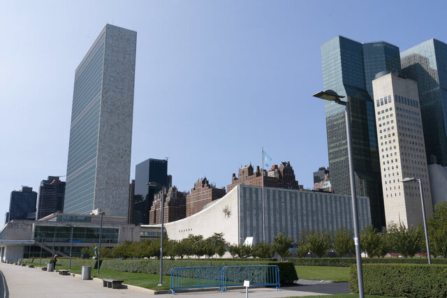 A general view of United Nations headquarters on Monday, Sept. 21, 2020. In 2020, which marks the 75th anniversary of the United Nations, the annual high-level meeting of world leaders around the U.N. General Assembly will be very different from years past because of the coronavirus pandemic. Leaders will not be traveling to the United Nations in New York for their addresses, which will be prerecorded. Most events related to the gathering will be held virtually.  (AP Photo/Mary Altaffer)