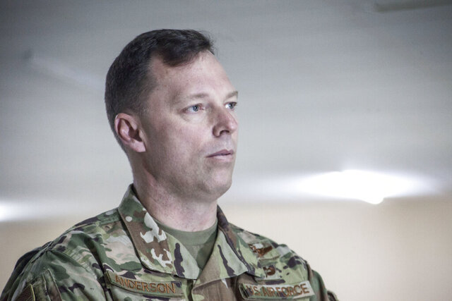 In this photograph taken Tuesday Feb. 25, 2020, U.S. Air Force Brig. Gen. Dagvin Anderson, commander of the U.S. military's special forces in Africa, speaks to the Associated Press in Thies, Senegal. The only place in the world where fighters linked to al-Qaida and the Islamic State group are cooperating is in West Africa's sprawling Sahel region. The commander of the U.S. military's special forces in Africa says that